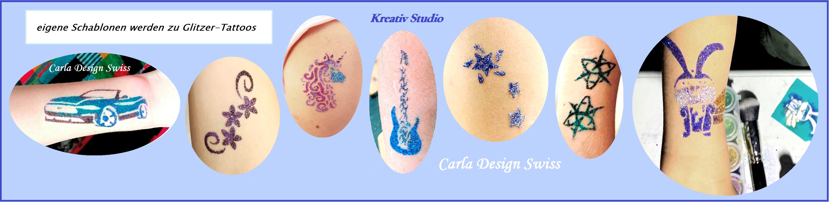 Glitzer-Tattoos selber gestalten macht Spass, besonders für kühle Sommer Feste mit Badi.
