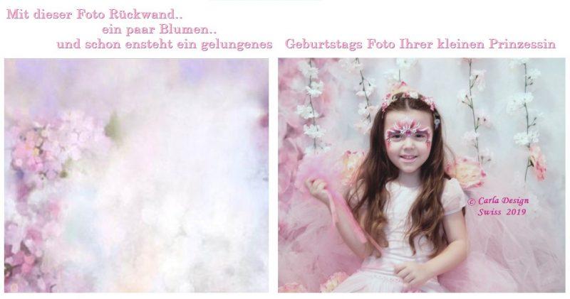 Kleine Prinzessinnen besonders hübsch geschminkt, fotografiert vor einer Blütenwand, machen den Kinder Geburtstag einzigartig